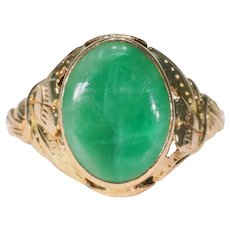 Antique Edwardian Gold Jade Ring