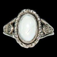 Vintage Silver Art Deco Moonstone Ring by Thomas L. Mott