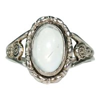 Vintage Silver Art Deco Moonstone Ring by Thomas L. Mott
