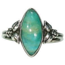 Vintage Bernard Instone Silver Aventurine Ring
