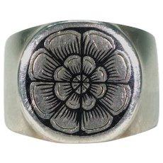 Russian Niello Tudor Rose Ring Silver Band