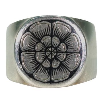 Russian Niello Tudor Rose Ring Silver Band