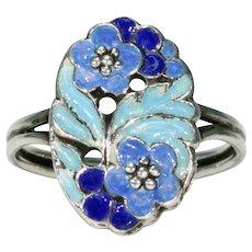 Vintage B. Instone Silver Blue Enameled Ring