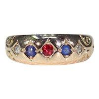 Antique Victorian Ruby Sapphire Diamond Ring
