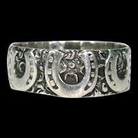 Victorian Triple Horseshoe Silver Ring Band Hallmarked 1887