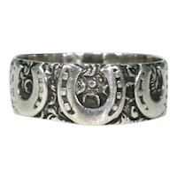 Victorian Triple Horseshoe Silver Ring Band Hallmarked 1887