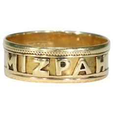 Antique Victorian 18k Gold Mizpah Band Ring