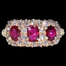 Victorian Ruby Diamond Triple Cluster Ring