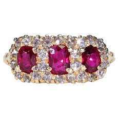Victorian Ruby Diamond Triple Cluster Ring