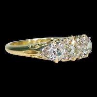 Spectacular Victorian 3 Stone Diamond Ring 18k Gold 2cttw