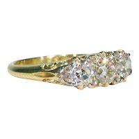 Spectacular Victorian 3 Stone Diamond Ring 18k Gold 2cttw