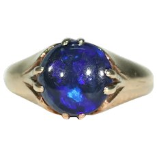 Antique Arts and Crafts Black Opal Ring Solitaire