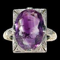 Art Deco Amethyst Diamond Ring 15k Gold Platinum