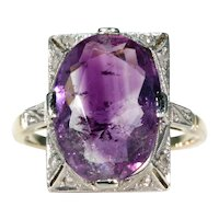 Art Deco Amethyst Diamond Ring 15k Gold Platinum