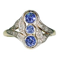 Swirling Edwardian Sapphire Diamond Ring 18k Platinum