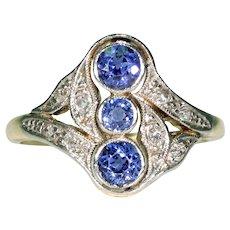 Swirling Edwardian Sapphire Diamond Ring 18k Platinum