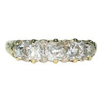 Edwardian Old European Cut 5 Diamond Ring 18k Gold