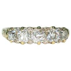 Edwardian Old European Cut 5 Diamond Ring 18k Gold