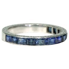 Art Deco Platinum Sapphire Half Eternity Ring Wedding Band