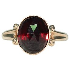Victorian Gold Faceted Garnet Solitaire Ring