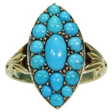 Victorian Turquoise Ring Navette Large 18k Gold