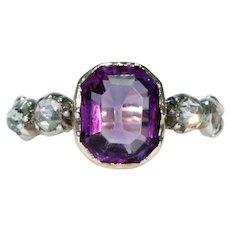 Georgian Amethyst Rose Cut Diamond Ring