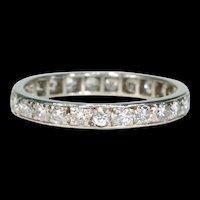 Art Deco French Eternity Band Diamond Ring Platinum Size 9.25