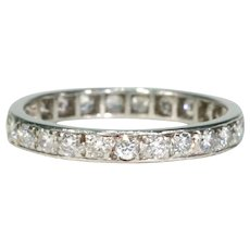Art Deco French Eternity Band Diamond Ring Platinum Size 9.25