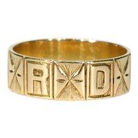 Victorian 'Regard' Wedding Band Ring in 15k Gold Sz 8.75