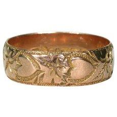 Edwardian Hearts Ivy Wedding Band Ring Rose Gold Sz 7.5