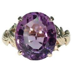 Vintage Gold Amethyst Solitaire Ring English