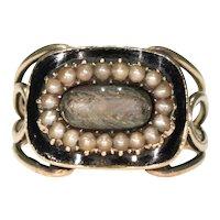 Georgian Memorial Ring Dated 1813 Pearls and Hair 15k Gold