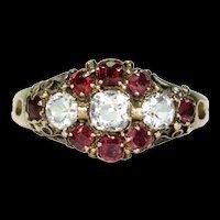 Victorian Aquamarine Garnet Ring Dated 1870