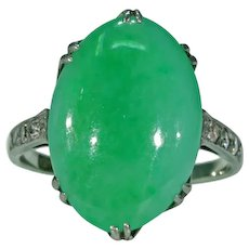 Art Deco Jade Diamond Ring 18k White Gold
