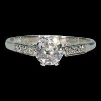 Art Deco Old European Cut Diamond Engagement Ring in Platinum