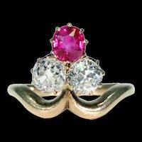 Antique Edwardian Trefoil Ruby Diamond Ring