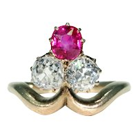 Antique Edwardian Trefoil Ruby Diamond Ring