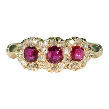Victorian Ruby Diamond Ring Triple Cluster 18k Gold