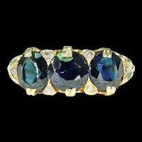 Antique 3 Sapphire Diamond Ring 18k Gold Victorian