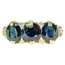 Antique 3 Sapphire Diamond Ring 18k Gold Victorian