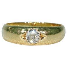 Antique Diamond Gypsy Ring 18k Gold Engagement Wedding Band