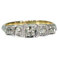 Early Art Deco 5 Diamond Ring Band Stacking