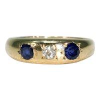 Victorian English Sapphire Diamond 3 Stone Ring Gypsy Set