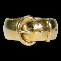 Victorian Buckle Ring Inscribed 1891 18k Gold Wedding Band