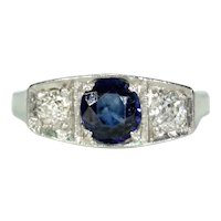 Antique French Art Deco Sapphire Diamond Ring Engagement Ring