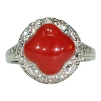 Antique Art Deco Red Coral Diamond Ring 14k White Gold