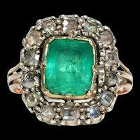 Georgian Untreated Emerald Diamond Ring c. 1720