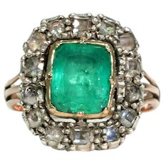 Georgian Untreated Emerald Diamond Ring c. 1720