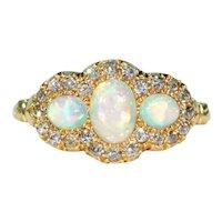 Edwardian 3 Opal diamond Ring 18k Gold