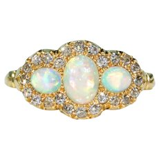 Edwardian 3 Opal diamond Ring 18k Gold